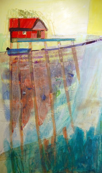 Red Boathouse #1 – Mixed Media