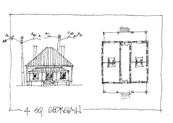 "Ron Haase, Napkin Sketch, ""4 Square Georgian"""